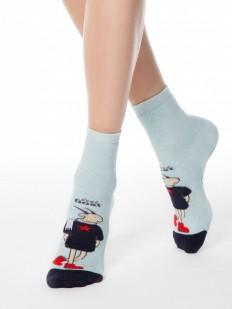 Хлопковые всесезонные женские носки с модной козочкой и антискользящим покрытием