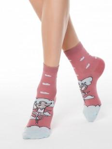 Хлопковые всесезонные женские носки с мышками и облачками