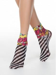Женские носки с рисунком в полоску и яркими надписями в стиле комиксов