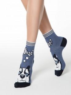 Цветные высокие женские носки с принтом хаски