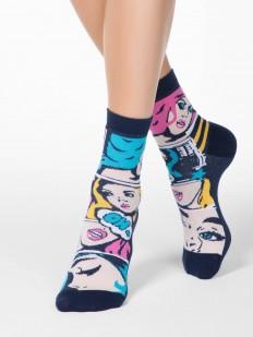 Цветные женские носки из хлопка с ярким принтом в виде комиксов