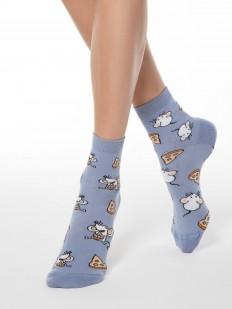 Хлопковые высокие женские носки с мышками и сыром