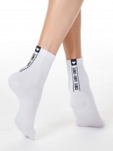 Всесезонные хлопковые женские носки с надписями и сердечками