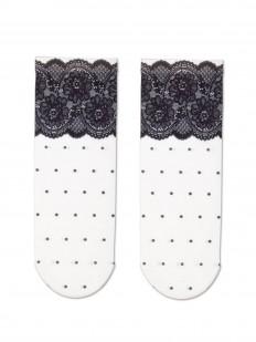 Трендовые женские носки в горошек с кружевным декором