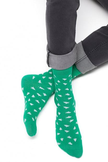 Цветные всесезонные мужские носки с елочками Omsa 507 STYLE - фото 1