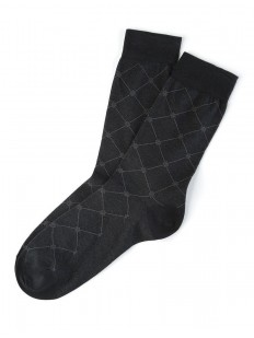 Мужские всесезонные черные носки из гладкого хлопка с рисунком ромб