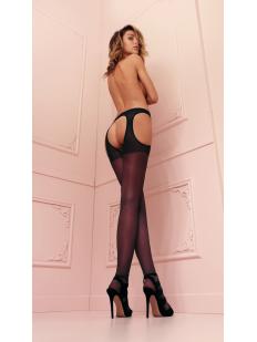 Тонкие открытые колготки strip panty 15 ден с имитацией чулок на поясе