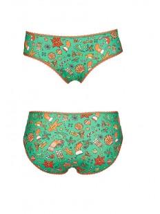 Зеленые женские новогодние трусы слипы с рождественским принтом