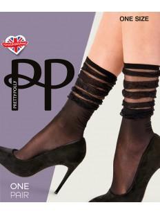 Высокие нейлоновые женские носки с оригинальной гармошкой сверху