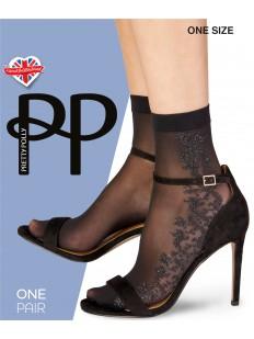 Капроновые женские носки с серебристым узором из люрекса