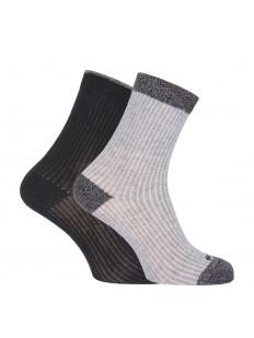 Высокие хлопковые женские носки в рубчик с блестящим люрексом
