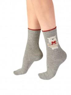 Женские рождественские носки с полярным мишкой и бантиком
