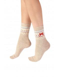 Женские новогодние носки с геометрическим узором и бантиком