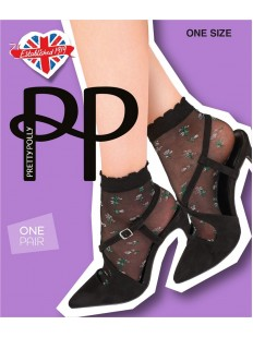 Оригинальные женские капроновые носки с цветочной вышивкой