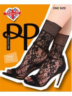Ажурные женские носочки с цветочным узором и сеточкой