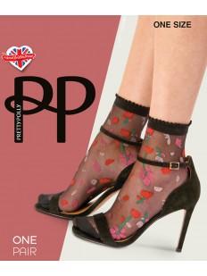 Оригинальные капроновые женские носки с цветочной вышивкой