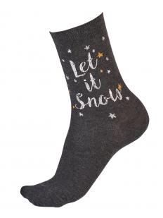 Женские новогодние носки с блестящим люрексом и надписью LET IT SNOW