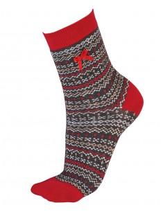 Женские рождественские носки с цветным рисунком и бантиком