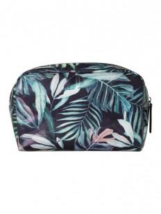 Черная пляжная косметичка с растительным принтом