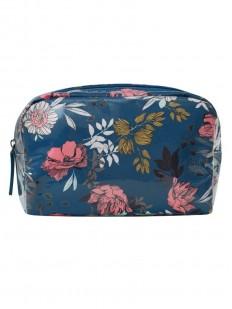 Синяя пляжная косметичка с цветочным принтом