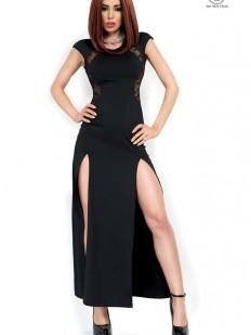 Длинное черное платье с глубокими разрезами