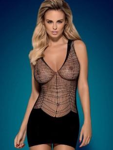 Черное короткое сексуальное платье в прозрачную сетку
