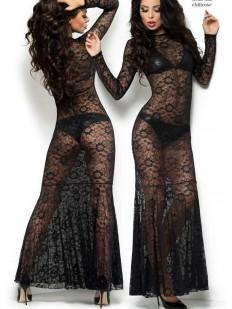 Длинное полупрозрачное черное эротическое платье с кружевом