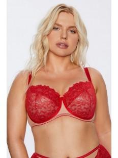 Красный кружевной бюстгальтер больших размеров