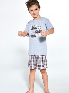 Пижама для мальчиков с клетчатыми шортами и футболкой с автомобильным принтом