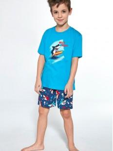 Цветная пижама для мальчиков с акулами: шорты и футболка