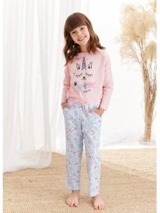 Детская пижама для девочек с волшебным принтом котика