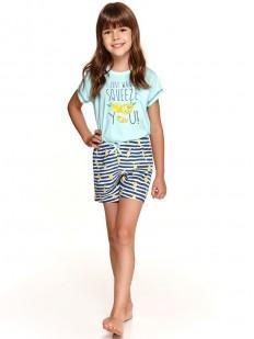 Летняя пижама для девочек с принтованными шортами и футболкой из хлопка