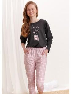 Подростковая пижама для девочек с кофтой и брюками: принт в виде мишки