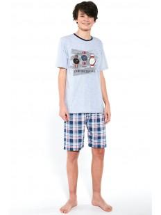 Подростковая пижама для мальчиков с клетчатыми шортами