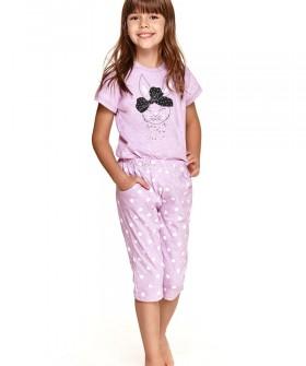 Цветная пижама для девочек со штанами капри и футболкой с принтом зайчика