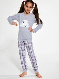 Хлопковая пижама для девочек со штанами в клетку и принтом морских котиков