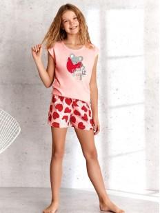 Летняя пижама для девочек с футболкой шортами в сердечко