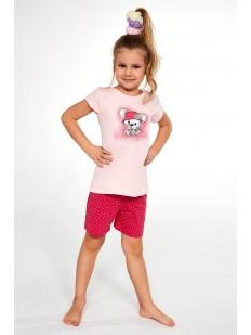 Детская пижама для девочек с шортами и футболкой: принт с мышкой