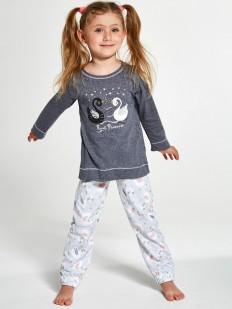 Хлопковая пижама для девочек со штанами и принтом лебеди