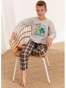 Детская пижама для мальчиков с брюками в клетку и принтованной кофтой