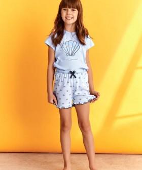 Летняя пижама для девочек с шортами и рисунком ракушки