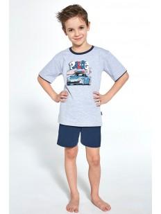 Детская пижама с шортами для мальчиков: принт полицейская машина