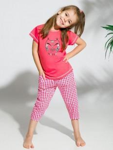 Детская пижама для девочек со штанами в клетку