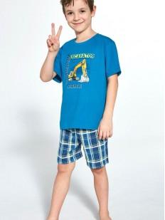 Пижама для мальчиков с шортами в клетку и принтом экскаватор