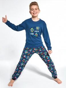 Синяя детская пижама для мальчиков со штанами и принтом Кубик Рубика