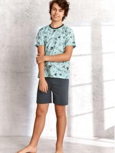 Подростковая пижама для мальчиков с шортами и принтованной футболкой