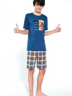 Подростковая пижама с клетчатыми шортами для мальчиков: принт со львом