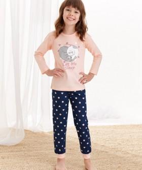 Хлопковая пижама для девочек со штанами и принтом котят