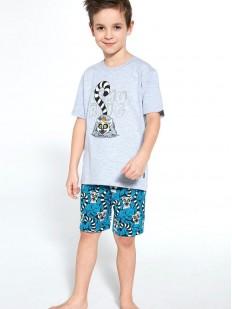 Пижамный комплект для мальчиков с шортами и принтом лемуры