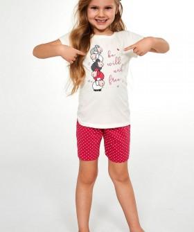 Пижама для девочек с розовыми шортами в горошек и принтованной футболкой